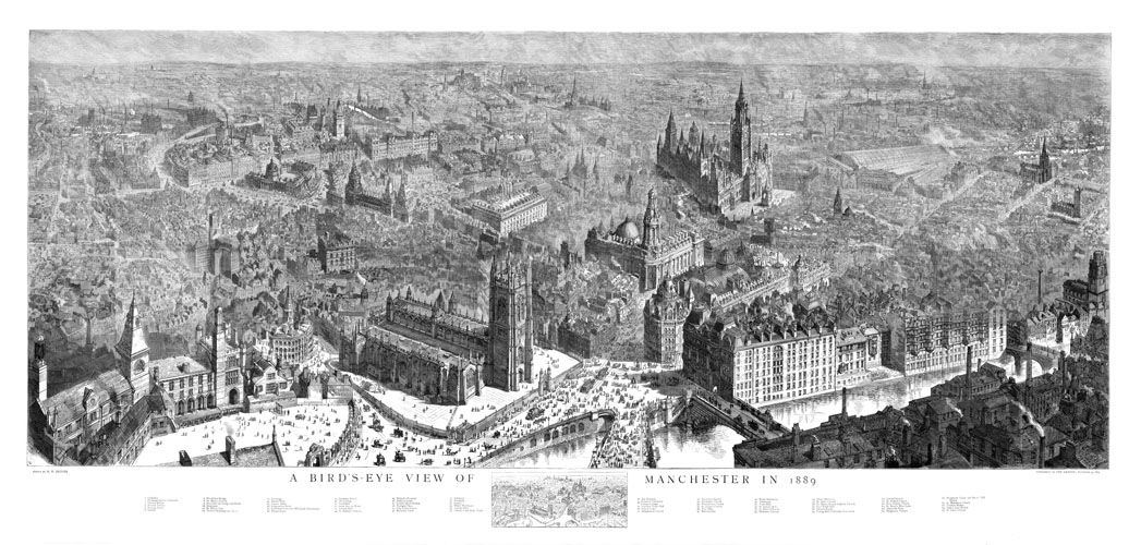 A Birds Eye View of Manchester – 1889 – Digital Archives